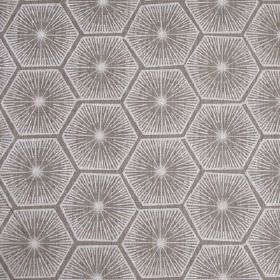 Medina - Ash - White starbursts and geometric hexagon shapes printed on an iron grey coloured 100% linen fabric background