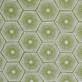 Medina - Palm - Fabric made from 100% linen in olive green and very pale grey, printed with starburst designs and geometric hexagon shapes