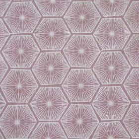 Medina - Dirty Lilac - White and light purple coloured starburst and geometric hexagon shape designs printed on fabric made from 100% linen