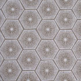 Medina - Taupe - Fabric made from starburst and geometric hexagon shape patterned 100% linen in white and steel grey