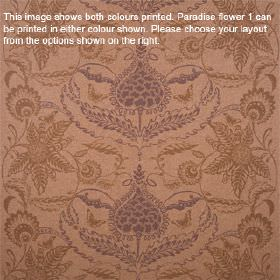 Paradise Flower - Ember - Light brown lambswool fabric patterned with ornate floral designs in chocolate brown and dusky purple