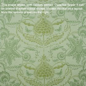 Paradise Flower - Pea Green - Fabric made from lambswool in light olive green and two shades of jade green, printed with ornate floral patte