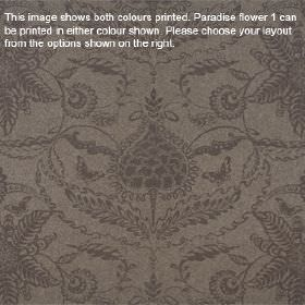 Paradise Flower - Havana - Subtle, ornate floral patterns printed on lambswool fabric in two similar very dark shades of grey