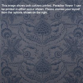Paradise Flower - Indigo - Dark violet coloured lambswool fabric printed with dark navy blue coloured patterns of ornate florals