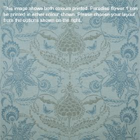 Paradise Flower - Aqua - Lambswool fabric printed with ornate floral patterns in two light shades of powder blue, with some subtle pale grey