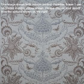Paradise Flower - Flannel Grey - Three different light and dark shades of blue-grey making up an ornate floral apttern on lambswool fabric