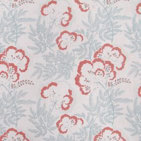 Clouds Garden - Coral - Light fabric made solely from linen decorated with elegant floral pattern in colours coral and light blue