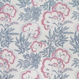 Clouds Garden - Indigo - White fabric made out of linen featuring a pattern of pink flowers with indigo blue stems and leaves