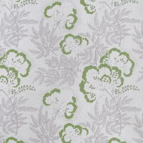 Clouds Garden - Peridot - Fabric made from linen in colour white decorated with green flowers surrounded by grey plants