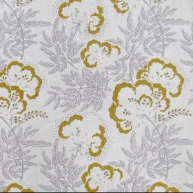 Clouds Garden - Smoke - Fabric made from linen in very light grey decorated with yellowish flowers and grey leaves