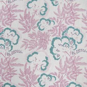 Clouds Garden - Vert de Gris - Fabric made out of linen in white featuring light teal flowers that have bright pink stems and leaves