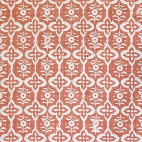 Cordoba - Coral - Fabric made from linen presenting Cordoba pattern of changing shapes in white and coral red