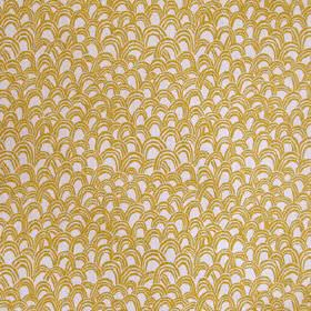 Baya - Ochre - Pale grey 100% linen fabric printed with uneven, random scallop shapes in gold