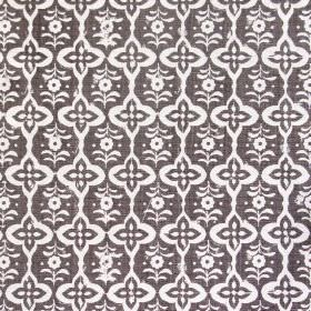 Cordoba - Khol - Dark grey fabric made solely from linen decorated with interchanging pattern on white floral shapes
