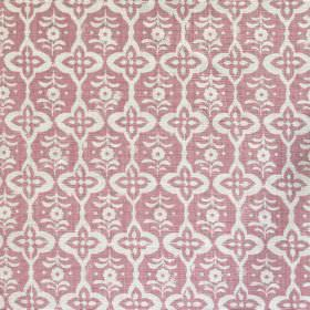 Cordoba - Madder Pink - Fabric made out of linen in feminine pink colour decorated with a regular pattern of floral shapes in white