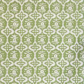 Cordoba - Peridot - Fabric made entirely from linen in soft green featuring floral shapes in white forming design called Cordoba