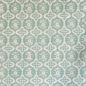 Cordoba - Seafoam - Fabric made  out of linen in colour sea foam blue with white and blue floral shapes forming a regular pattern