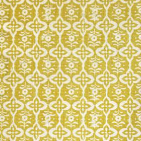 Cordoba - Yellow - Fabric made solely out of linen decorated with interchanging floral shapes in colours yellow and white