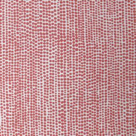Dandaloo - Coral - White fabric made out of linen decorated with tiny irregular dots in cheerful coral red colour