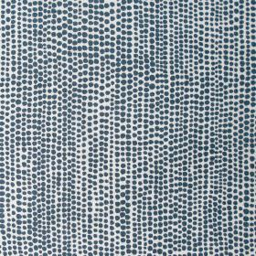 Dandaloo - Deepest Indigo - Fabric made from linen in colour white embellished with a pattern of tiny dots in colour indigo blue