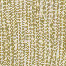 Dandaloo - Ochre - Cheerful design on fabric made out of linen in white presenting tiny dots pattern in ochre