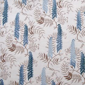 Meadows Edge - Delft Blue - Light grey fabric made out of linen decorated with meadow design featuring colourful flowers