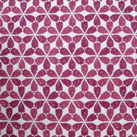 Maroc - Cranberry - Fabric made entirely out of linen in colour white decorated with clustered flower design in colour cranberry