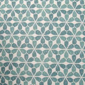 Maroc - Seafoam - White fabric made entirely out of linen featuring creative pattern of clustered flowers in sea foam blue