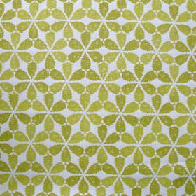 Maroc - Yellow - Very bright fabric made out of linen decorated with interesting floral pattern in greenish shade of yellow