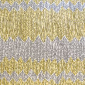 Akuna - Smoke - Fabric made solely out of linen decorated with a pattern of wide zigzag stripes in yellow and grey