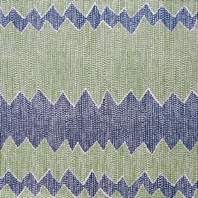 Akuna - Peridot & Indigo - Fabric made out of linen with strips in indigo blue and soft green separated by zigzag lines