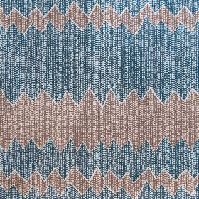 Akuna - Indigo & Cinnamon - Indigo blue fabric made out of linen decorated with pattern of wide zigzag stripes in coral red