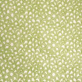 Baya - Palm - Small olive green coloured random, uneven scallop shapes printed on a pale grey 100% linen fabric background