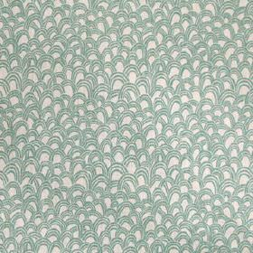Baya - Seafoam - Light shades of grey and blue making up a random pattern of uneven scallop shapes on fabric made from 100% linen