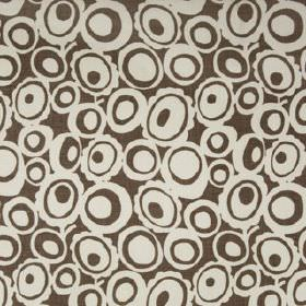 Agnes - Khol - Cocoa and putty coloured retro style concentric circles and ovals patterning fabric made from 100% linen