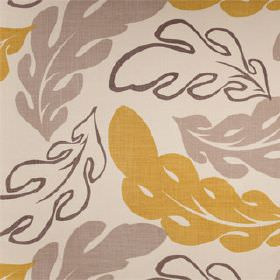 Beauvallon - Mustard Seed - Large, curved, stylised oak leaf patterned fabric in very pale grey, dove grey, dark brown-grey and gold