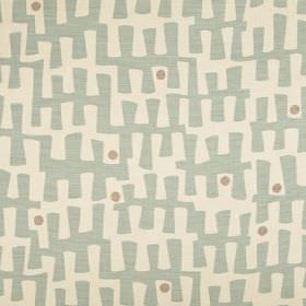 Berbeck - Aqua - A pale blue pattern and light grey dots printed on milk white coloured linen union fabric