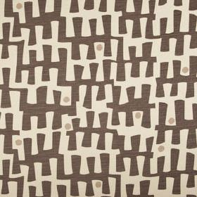 Berbeck - Khol - Linen union fabric made in dark chocolate brown and two pale shades of grey, featuring a random pattern and dots