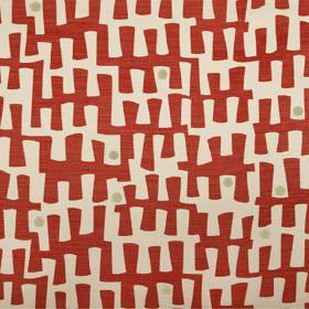 Berbeck - Poppy - Pale pinkish grey linen union fabric printed with a random pattern in bright red, with a few small dots in light grey