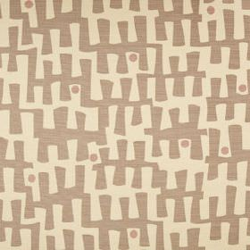 Berbeck - Husk - Grey and putty coloured fabric featuring a pattern of angular, jagged lines and subtle dots, made from a linen union