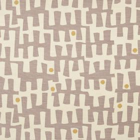 Berbeck - Mink - A random, angular jagged line pattern and small dots printed on linen union fabric in off-white, dove grey and khaki