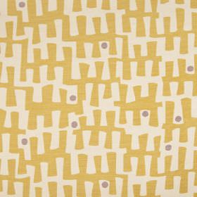 Berbeck - Yellow - Light gold and purple-grey dots and angular, jagged lines printed on a pale creamy grey linen union fabric background