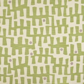 Berbeck - Palm - Dots and jagged, angular, random line patterns printed in light shades of grey, green and white on linen union fabric