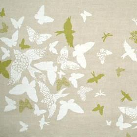 Birds and Butterflies - Green - Linen union fabric featuring plain and patterned butterfly and bird print designs in white, olive green and li