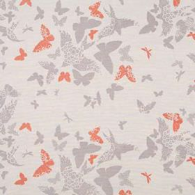 Birds and Butterflies - Mink - Pale grey linen union fabric printed with plain and patterned butterflies and birds in grey and light red colou