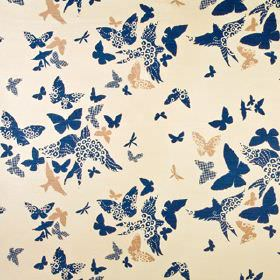 Birds and Butterflies - Indigo - Plain and patterned butterfly and bird designs printed in navy blue and nude colours on light cream linen uni