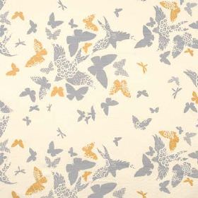 Birds and Butterflies - Smoke - Golden brown and dove grey coloured plain and patterned birds and butterflies printed on linen union fabric in