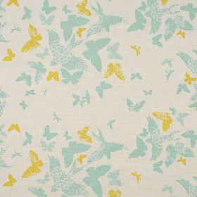 Birds and Butterflies - Tourmaline - Linen union fabric made in citrus, light blue and pale grey, with a design of plain and patterned butterf
