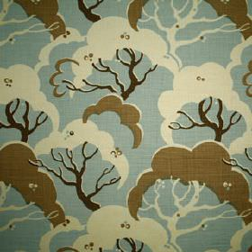 Cloud Bay - Powder Blue - Off-white, light blue and two dark shades of brown making up a tree print pattern on fabric made from 100% linen