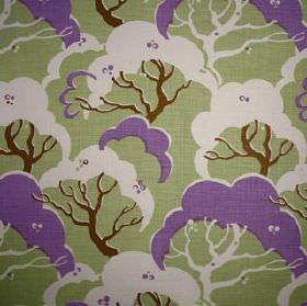 Cloud Bay - Lilac - Fabric made from 100% linen, featuring a tree print pattern in white, chestnut brown, light green-grey and vibrant lilac